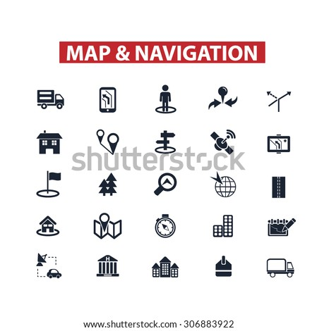 map, navigation, location, route icons, signs, illustrations set, vector - stock vector