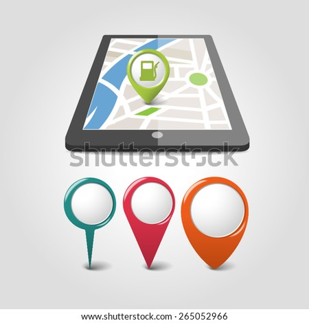 map navigation on mobile phone and tablet   - stock vector