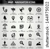 Map,Navigator icons,Black version,vector - stock