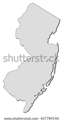 Map - New Jersey (United States) - stock vector