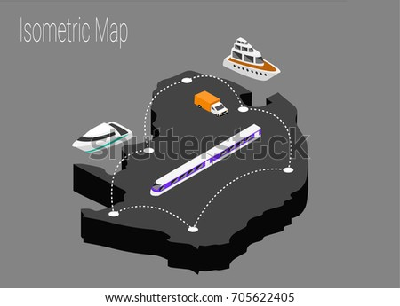 Map North Africa Isometric Concept 3d Stock Vector 705622405