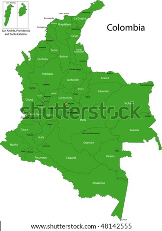 Map of administrative divisions of Colombia - stock vector