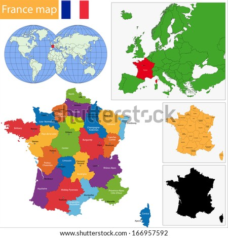 Map of administrative divisions of France - stock vector