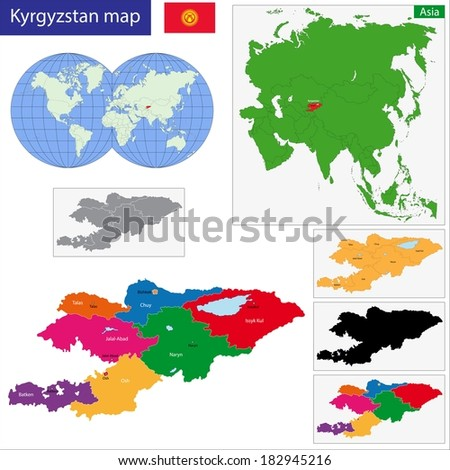 Map of administrative divisions of Kyrgyzstan - stock vector