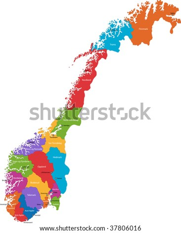 Map of administrative divisions of Norway with the capital cities