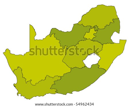 map of administrative divisions of republic of south africa in green colors