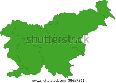 Map of administrative divisions of Slovenia - stock vector