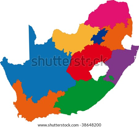 Map of administrative divisions of South Africa - stock vector