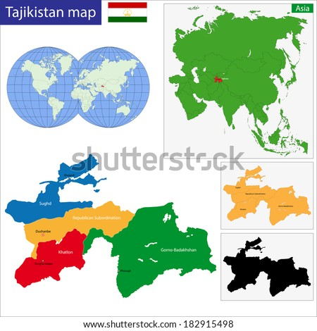 Map Administrative Divisions Tajikistan Stock Vector HD Royalty