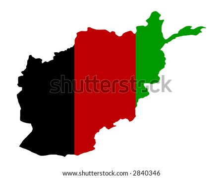 Afghanistan Flag Map on Afghanistan Map Outline