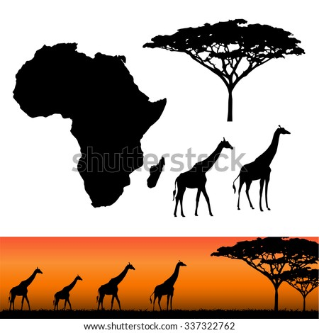 Map of Africa. Africa and Safari elements. African animals, giraffe, vector silhouettes. Panels of african silhouettes with african giraffes. Vector illustration - stock vector