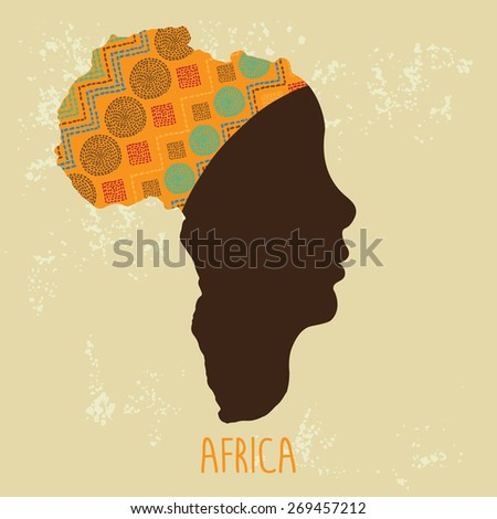 Map of Africa as a profile of African women in turban. Vector Illustration - stock vector