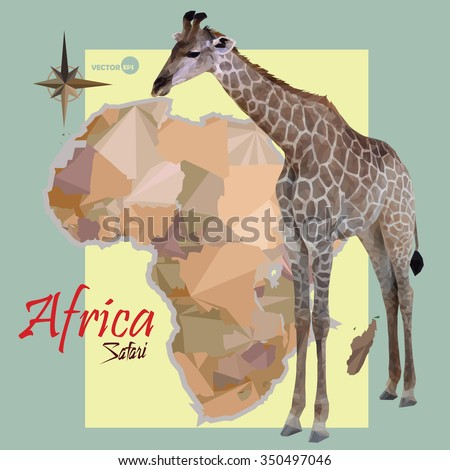 map of Africa. concept map with countries, image of a giraffe imitation vintage political map of Africa. Africa map in polygonal origami (low poly) vector illustration logo design - stock vector