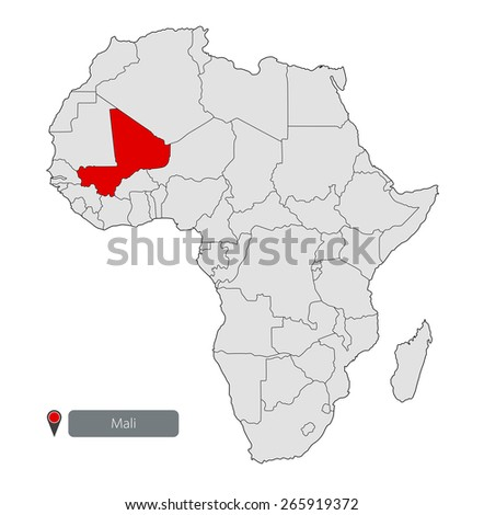 Map of Africa. Mali - stock vector