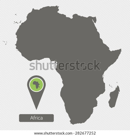 Map of Africa on gray background - stock vector