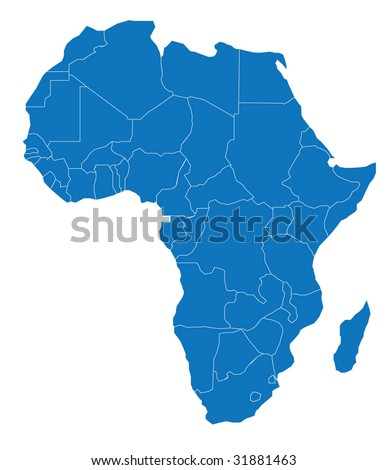 Map of Africa. The African Continent - Separable Borders for each country! - .EPS Vector Scalable to any size! - stock vector