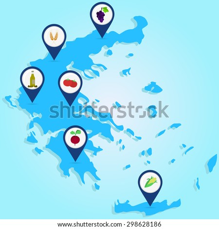 Map of agricultural Greece. Map of Greece with map pin of agricultural products: olive, oil, tomato, sugar beet, wheat, corn, grapes  - stock vector
