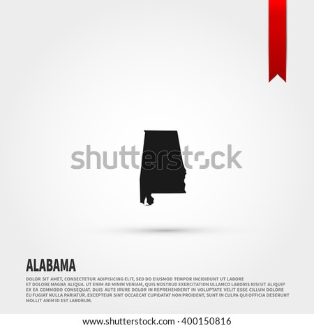Map of Alabama state icon vector. Map of Alabama state icon JPEG. Vector illustration design element. Flat style design icon. - stock vector
