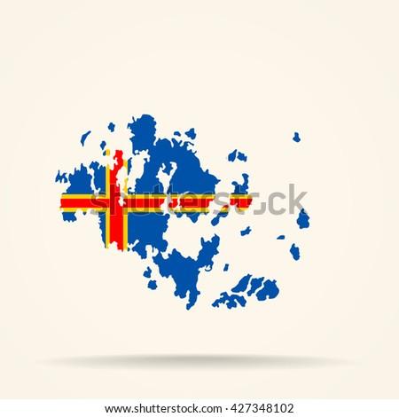 Map Aland Islands Aland Islands Flag Stock Photo Photo Vector