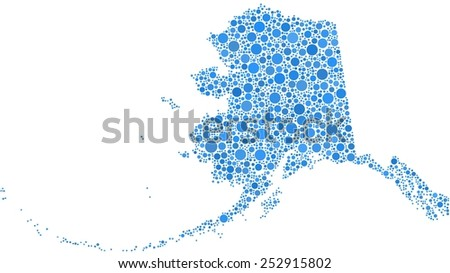 Map of Alaska - USA - in a mosaic of blue circles - stock vector