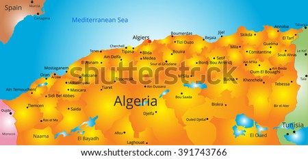 map of Algeria country - stock vector