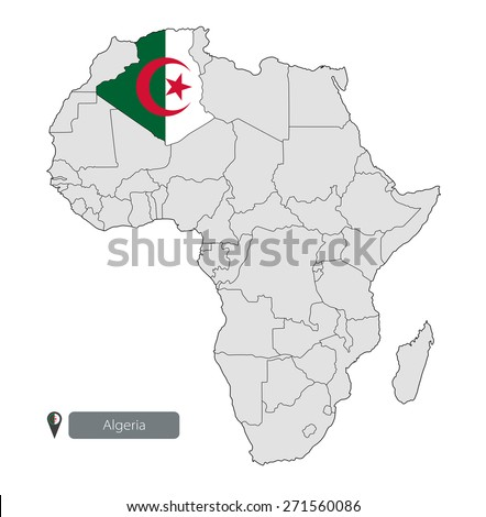 Map of Algeria with an official flag. Location on the continent of Africa - stock vector