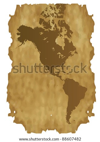 Map of America on the old paper - stock vector
