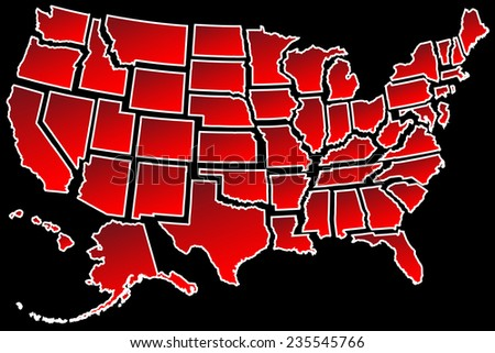 Map of America USA fifty states separated white border isolated on black - stock vector