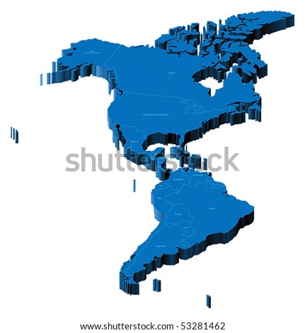 Map of Americas with national borders and country names. Pseudo-3d vector illustration.