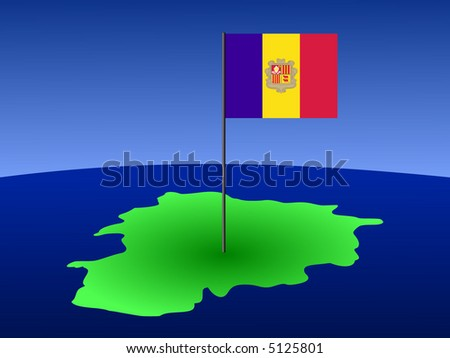 map of Andorra and their flag on pole illustration