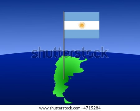 map of Argentina and Argentinian flag on pole illustration