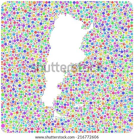 Map of Argentina - Latin America - into a square icon. Mosaic of harlequin circles - stock vector