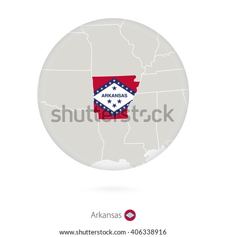 Map of Arkansas State and flag in a circle. Arkansas US State map contour with flag. Vector Illustration. - stock vector