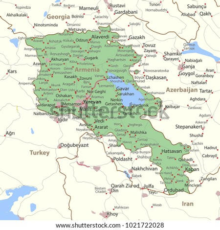 Map Armenia Shows Country Borders Urban Stock Vector (Royalty Free ...