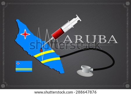 Map of Aruba with Stethoscope and syringe. - stock vector