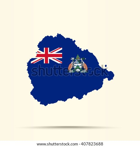 Map Ascension Island Ascension Island Flag Stock Vector 407823688