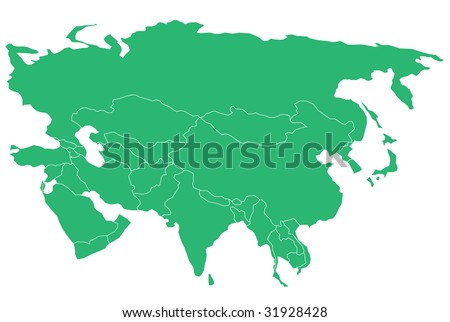 Map of Asia & Middle East. Separable Borders. - stock vector