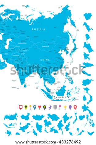 Map of Asia with it's states and flat map pointers isolated on white. - stock vector