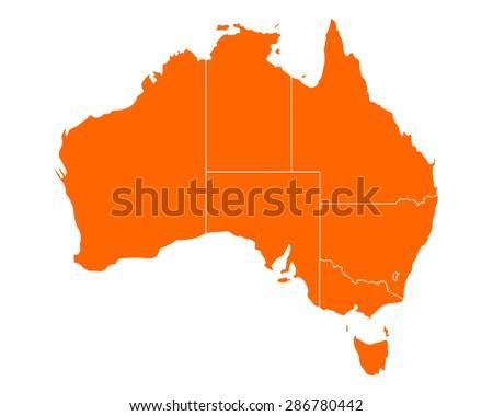 Map of Australia - stock vector