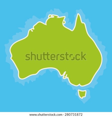 map of Australia Continent and blue Indian Ocean. Vector - stock vector
