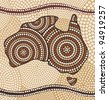 Map of Australia drawn in the Aboriginal abstract style - stock photo