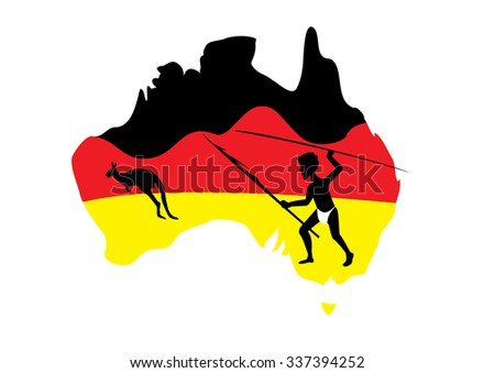 map of Australia in black red and yellow with a aboriginal man with a spear - stock vector