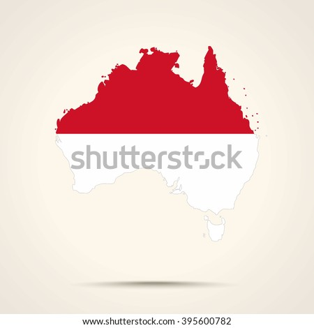 Map of Australia in Indonesia flag colors - stock vector