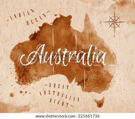 Map of Australia in old style in vector format, brown graphics in a retro style - stock vector