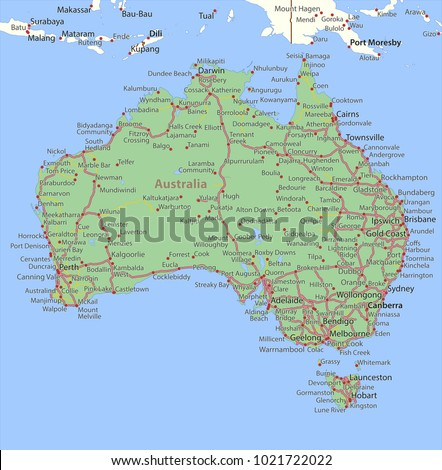 Map Australia Shows Country Borders Place Stock Vector HD Royalty