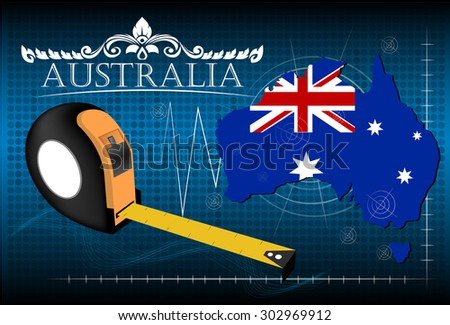 Map of Australia with ruler, vector. - stock vector