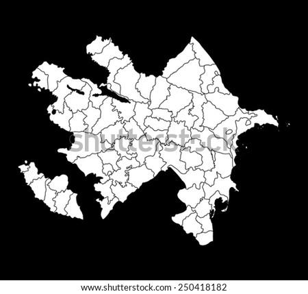 map of Azerbaijan - stock vector