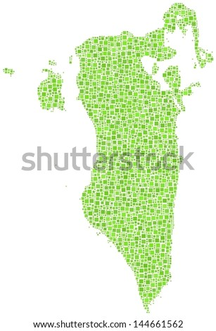 Map of Bahrain - Middle East - in a mosaic of green squares. A number of 3215 green squares are accurately inserted into the mosaic. White background.