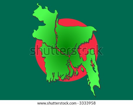 Map of Bangladesh and Bangladeshi flag illustration