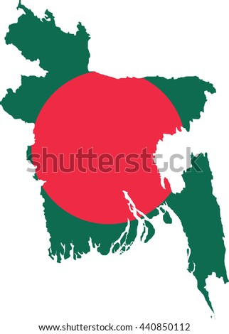 Map of Bangladesh in Bangladesh flag colors